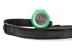 Sport heart rate monitor, watch and chest strap Stock Image