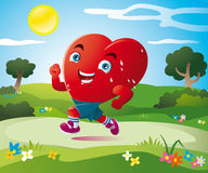 The sport of heart. A stylized heart runs happily in the green fields Royalty Free Stock Photo
