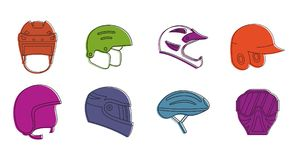 Sport helmet icon set, color outline style. Sport helmet icon set. Color outline set of sport helmet vector icons for web design isolated on white background Stock Photos