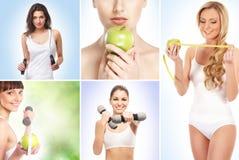 Sport, het op dieet zijn, fitness en gezond het eten concept Stock Afbeeldingen