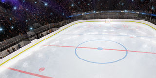 Sport hockey stadium 3d render whith people fans. And light stock illustration