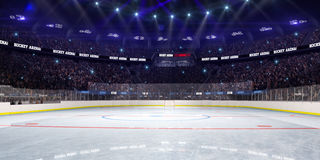 Sport hockey stadium 3d render whith people fans Stock Photo