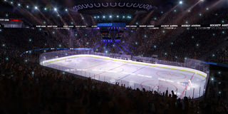 Sport hockey stadium 3d render whith people fans Stock Photography