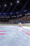 Sport hockey stadium 3d render whith people fans. And light vector illustration