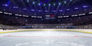 Sport hockey stadium 3d render whith people fans. And light royalty free illustration