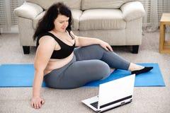 Yoga Workout At Studio, Woman Doing Plank Exercise Stock