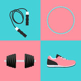 Sport Hula Hoop, Trainers, Dumbbells and Skipping Rope Icon Flat Stock Photography