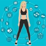 Sport i dieta, set ikony z poradami dla ciężar straty, płaska wektorowa ilustracja Zdjęcie Stock