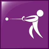 Sport icon design for hammer throwing on purple background Stock Images
