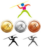 Sport icon design for javelin and medals Royalty Free Stock Images