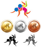 Sport icon design for wrestling and medals Stock Images