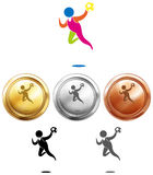 Sport icon for handball and medals Stock Image