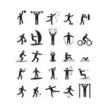 Sport Icon Playing People Black Set. Vector Royalty Free Stock Image