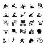 Sport icon set black-white invert Stock Photos