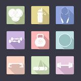 Sport icon set. Fitness vector equipment. Fitness vector equipment with sport icons and elements Royalty Free Stock Photography