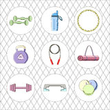 Sport icon set. Fitness vector equipment. Fitness vector equipment with sport icons and elements Royalty Free Stock Images
