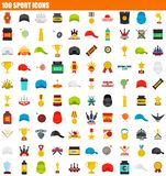 100 sport icon set, flat style. 100 sport icon set. Flat set of 100 sport vector icons for web design stock illustration