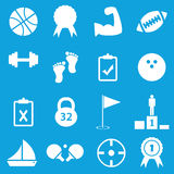 Sport icon set. Set of 16 sport icons, on blue background Royalty Free Illustration