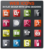 Sport icon set. Sport icons set in flat design with long shadow Stock Images