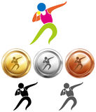 Sport icon for shot put and medals Royalty Free Stock Photos
