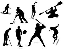 Sport icons. Silhouette of sportsmen in various kind of sports with descriptions Royalty Free Stock Image