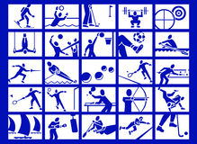 Sport icons. Various white sport icons over blue background Stock Photos