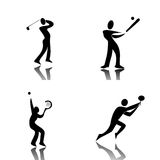 Sport Icons. Profile of sport in black Stock Images