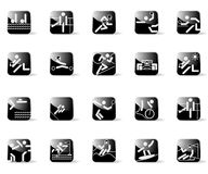 Sport Icons. Set of sport icons with black buttons Royalty Free Stock Photos