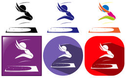 Sport icons of athelte doing long jump Royalty Free Stock Images