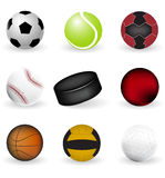 Sport icons, balls and puck on a white background Stock Images