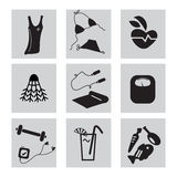 Sport icons. Black and white icons fitness of things Stock Illustration