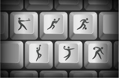 Sport Icons on Computer Keyboard Buttons Royalty Free Stock Images