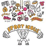 Sport icons doodle sketch. Sport symbols doodle sketch icons of hockey players helmet gymnastics rings and boxer gloves abstract  vector illustration Royalty Free Stock Images