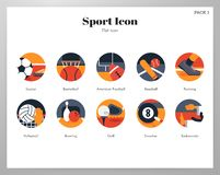 Sport icons flat pack vector illustration