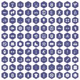 100 sport icons hexagon purple. 100 sport icons set in purple hexagon isolated vector illustration Stock Images