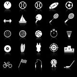 Sport icons with reflect on black background Royalty Free Stock Photography