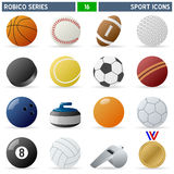 Sport Icons - Robico Series. Collection of 16 colorful sport balls and accessories icons, isolated on white background. Robico Series: check my portfolio for the royalty free illustration