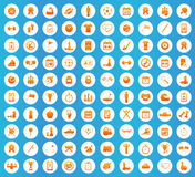 Sport icons round set. Sport icons set, orange image in white circle on blue background Stock Photos