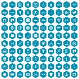 100 sport icons sapphirine violet. 100 sport icons set in sapphirine hexagon isolated vector illustration Stock Photography