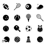Sport icons set black Stock Images