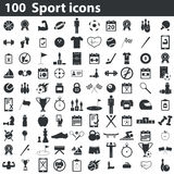 100 sport icons set. Black, on white background vector illustration