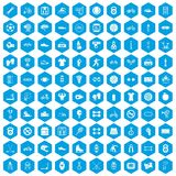 100 sport icons set blue. 100 sport icons set in blue hexagon isolated vector illustration Vector Illustration