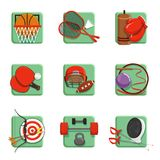 Sport icons set, boxing, badminton, gymnastics, fencing, baseball, archery vector illustrations. Isolated on a white background Royalty Free Stock Photography