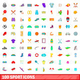100 sport icons set, cartoon style. 100 sport icons set in cartoon style for any design vector illustration Stock Photos