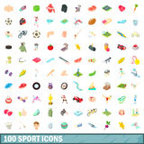 100 sport icons set, cartoon style Stock Image