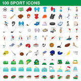 100 sport icons set, cartoon style. 100 sport icons set in cartoon style for any design vector illustration Royalty Free Stock Image
