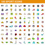 100 sport icons set, cartoon style. 100 sport icons set in cartoon style for any design vector illustration Stock Image