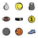 Sport icons set, cartoon style. Sport icons set. Cartoon illustration of 9 sport vector icons for web Stock Photos