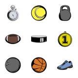 Sport icons set, cartoon style Stock Photos