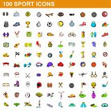 100 sport icons set, cartoon style. 100 sport icons set in cartoon style for any design illustration vector illustration